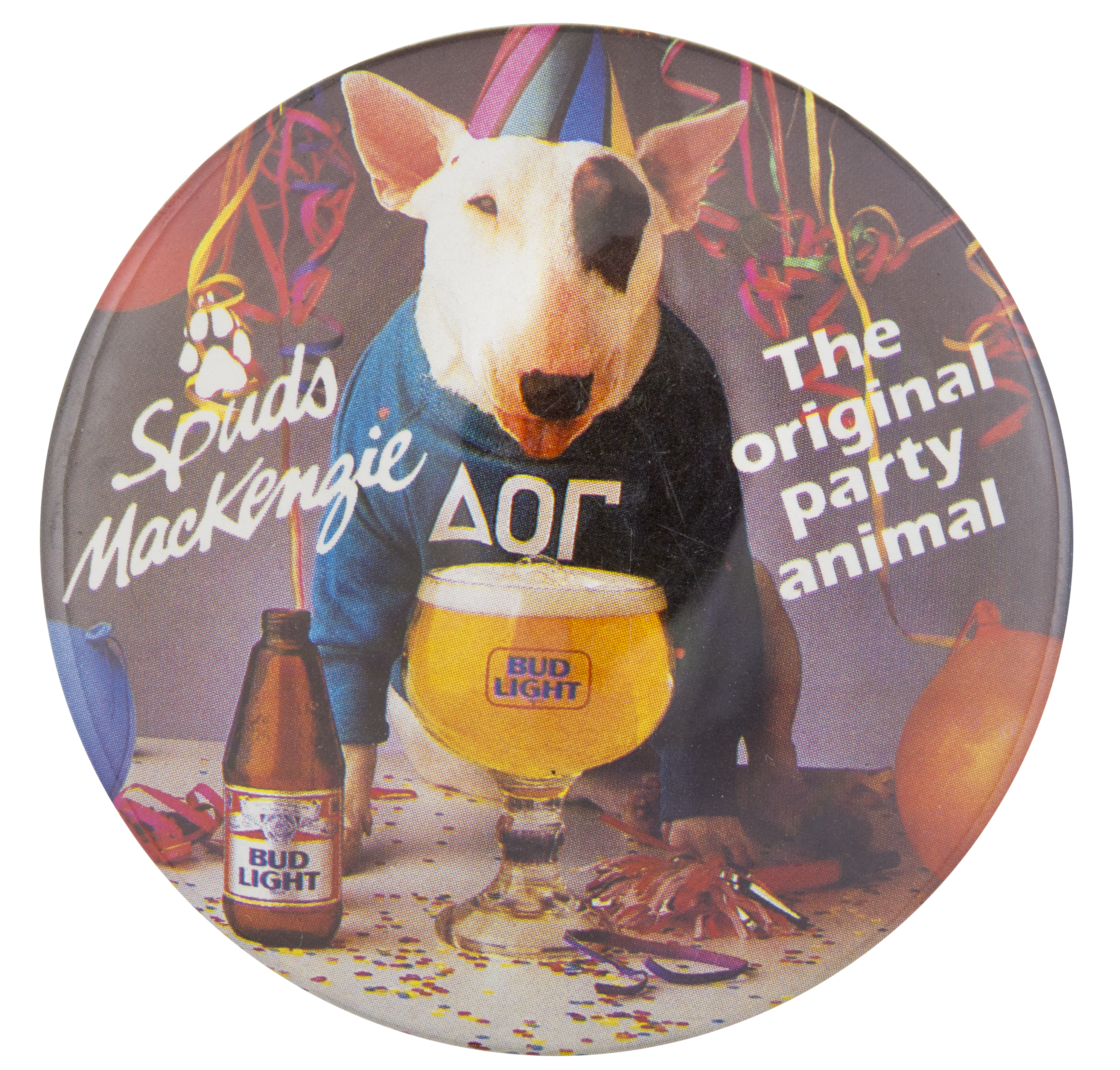 Bud Light Spuds MacKenzie Party Animal Beer Button Museum