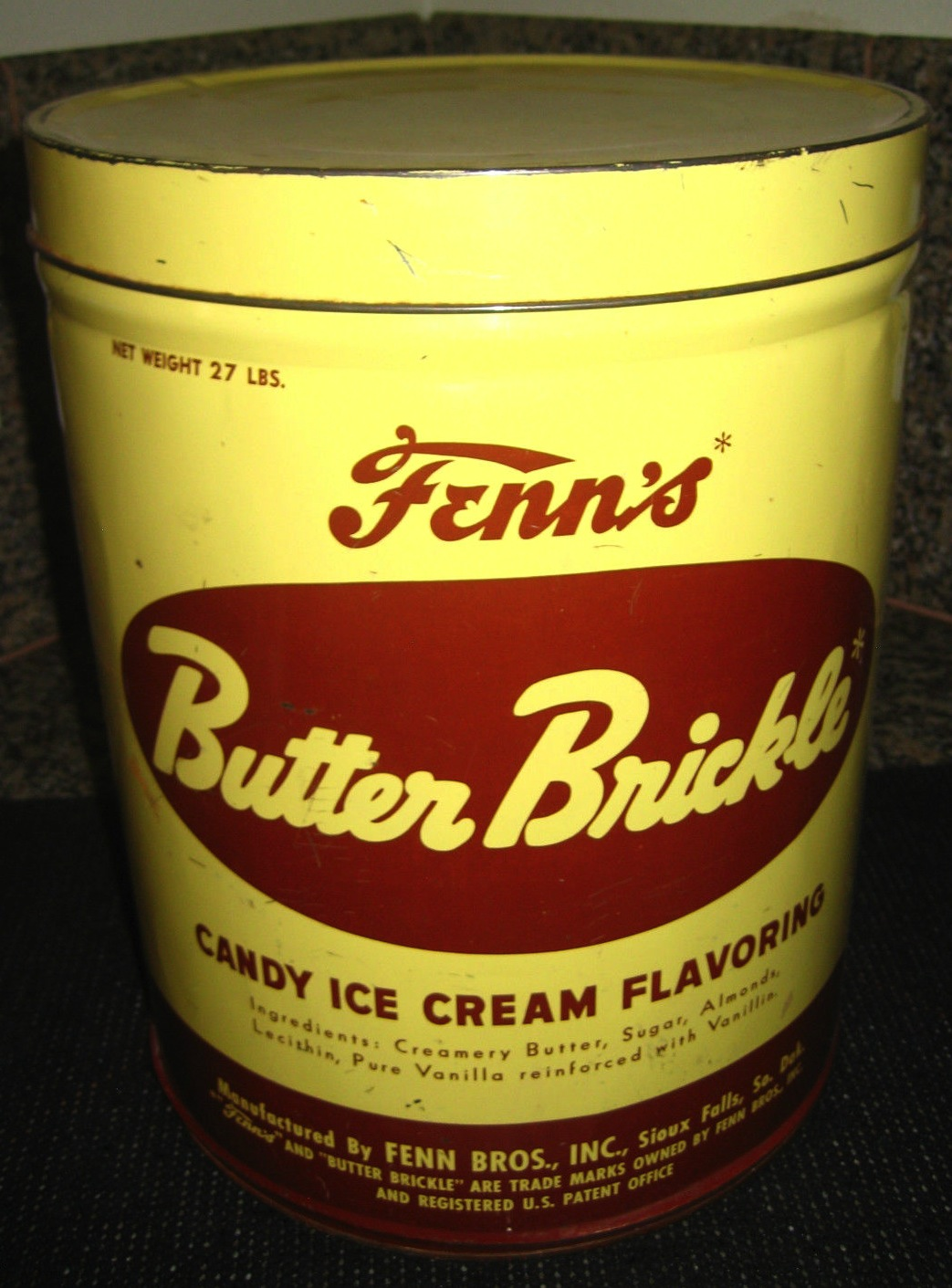 Fenn's Butter Brickle Ice Cream Container