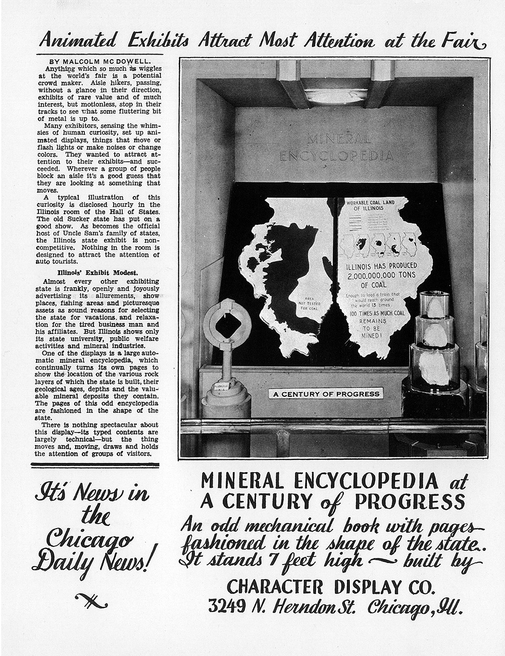 mechanical display at the world's fair news article and ad