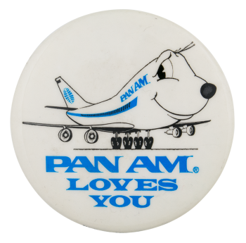 Pan Am Loves You Advertising Button Museum