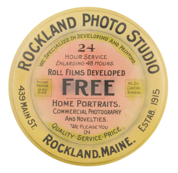 Rockland Photo Studio Advertising Button Museum