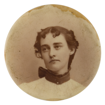 Black and White Portrait of a Woman 2 Art Button Museum