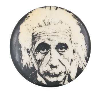 Einstein Face Art Button Museum