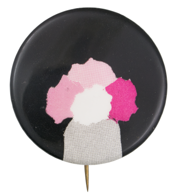 Pink White and Grey on Black Art Button Museum