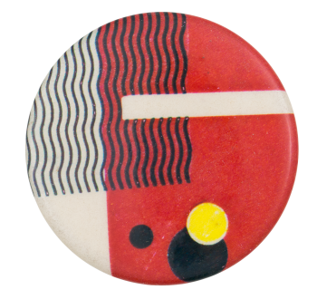 Red and White with Black Wavy Lines Art Button Museum