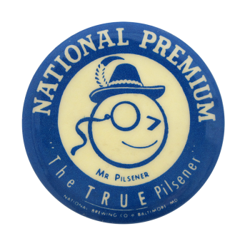 National Premium Mr. Pilsener Beer Button Museum