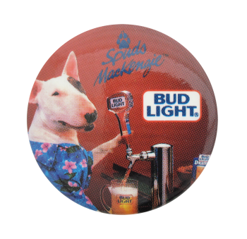 Bud Light Spuds Mackenzie Red Beer Button Museum