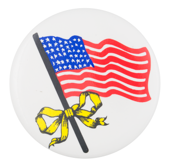American Flag with Yellow Ribbon  Cause Button Museum