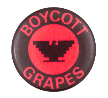 Boycott Grapes Red and Black Cause Button Museum