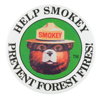 Help Smokey Prevent Forest Fires Cause Button Museum