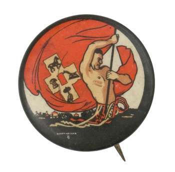 Person with Red Flag Cause Button Museum