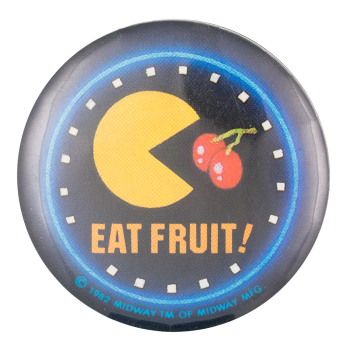 Pac Man Eat Fruit Entertainment Button Museum