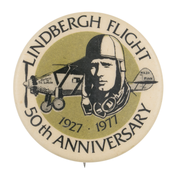 Lindbergh Flight 50th Anniversary Event Button Museum