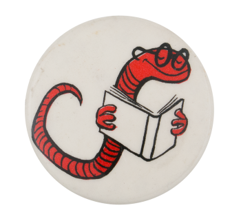 Bookworm Humorous Button Museum