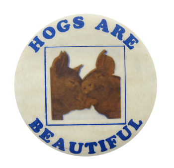 Hogs Are Beautiful Blue and Brown Humorous Button Museum