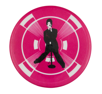 Singer on Pink and White Music Button Museum