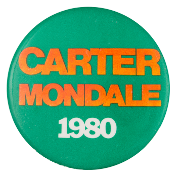 Carter Mondale 1980 Orange and Green Political Button Museum