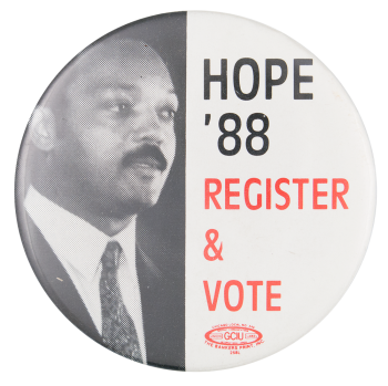 Hope '88 Register and Vote Political Button Museum