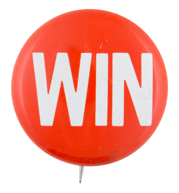 Red and White Win Political Button Museum