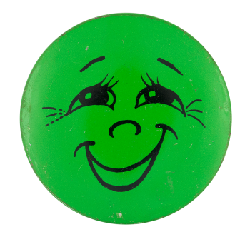Green Smiley with Eyelashes Smileys Button Museum