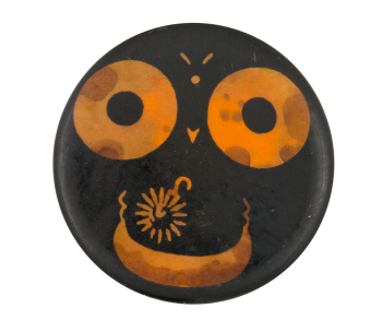 Orange and Black Face Smileys Button Museum