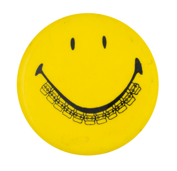 Yellow Smiley with Braces Smileys Button Museum