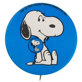 Snoopy blue button Self Referential Button Museum