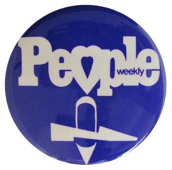 People Weekly - blue shoes Advertising Button Museum