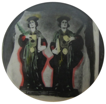 Two figures with pens and scrolls Art Button Museum
