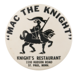 Knight's Restaurant Advertising Button Museum