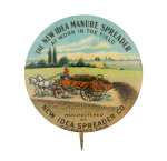 New Idea Manure Spreader Advertising Button Museum
