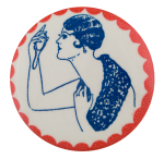 1920s Flapper in Blue Art Button Museum