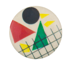 Abstract Red and Green Triangles Art Button Museum