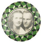 Black and White Portrait of Woman and Man Art Button Museum