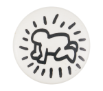 Keith Haring Figure Black and White Art Button Museum