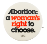 Abortion a Woman's Right to Choose Cause Button Museum