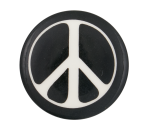 Peace Sign Black and White Cause Button Museum