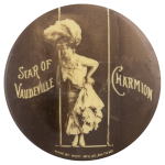 Star of Vaudeville Charmion Swing Entertainment Button Museum