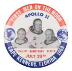 Apollo 11 First Men on the Moon Event Button Museum
