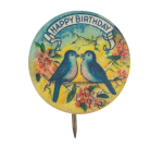 Happy Birthday Blue Birds Event Button Museum