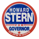 Howard Stern For Governor Entertainment Button Museum