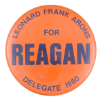 Leonard Frank Arons for Reagan Political Button Museum
