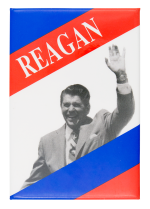 Reagan Red and Blue Stripes Political Button Museum