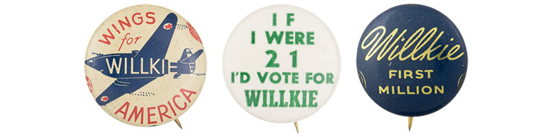 willkie buttons from the button museum collection